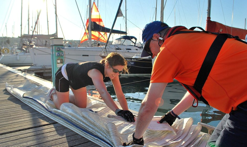 Evening sailcare at East Cowes marina