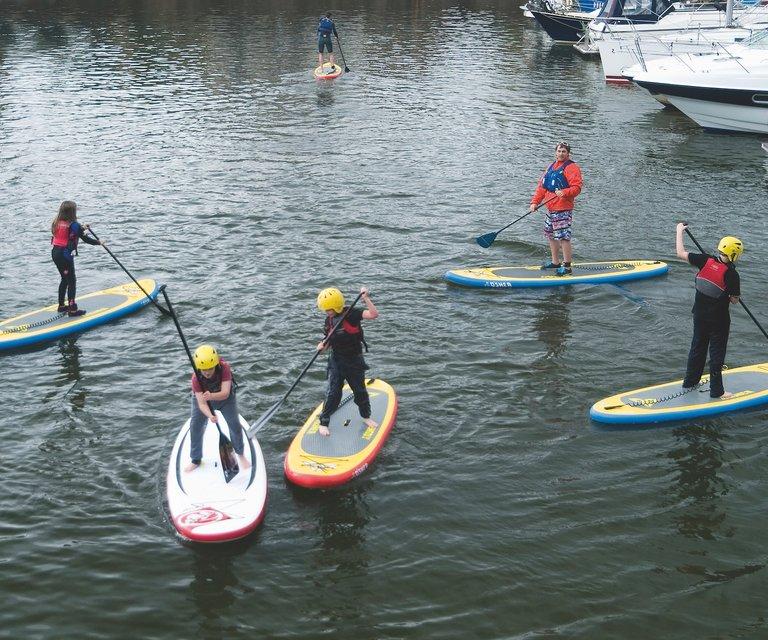 Paddleboarding group