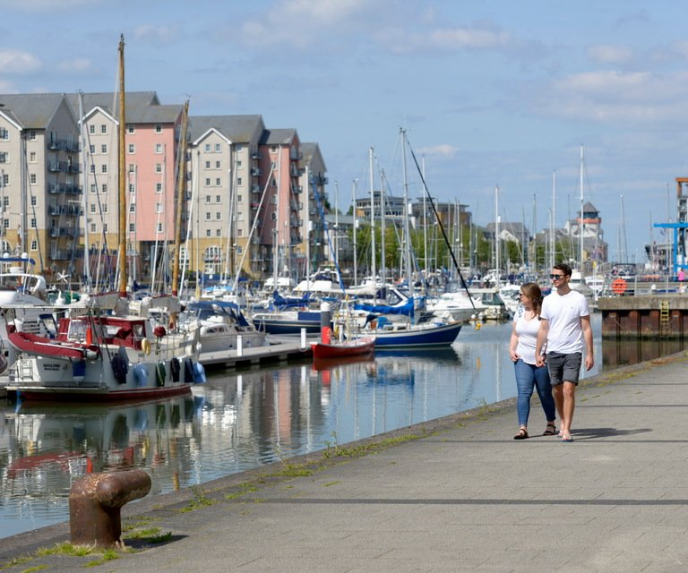 Walking at Portishead marina
