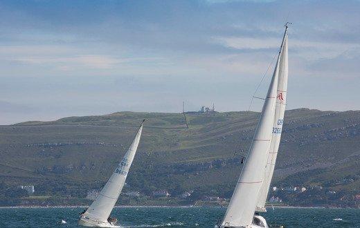 Yachts racing at Conwy Marina