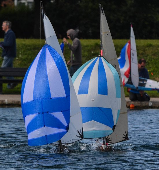 Gosport model yacht club white and blue sails
