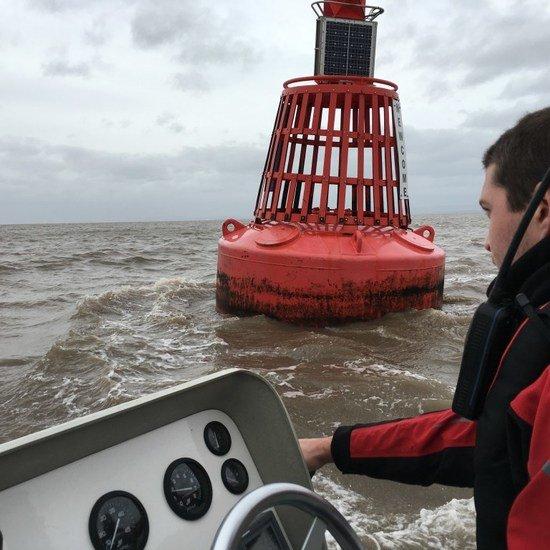 sea schools big red buoy at Portishead marina