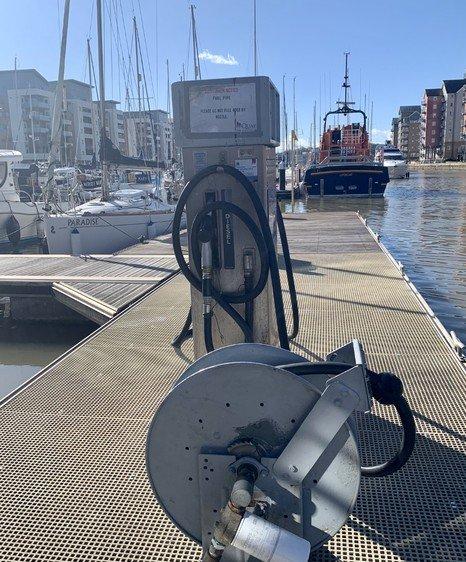 Fuel pump at Portishead marina with Tamar
