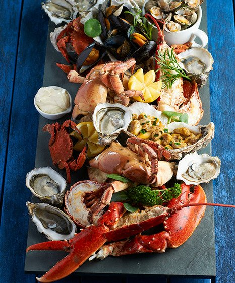 Gourmet seafood platter at the Crab House Café